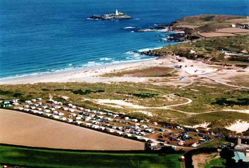Aerial View of Churchtown Farm Caravan & Camping Site, the Sand Dunes, the Beach, Godrevy & Godrevy Lighthouse